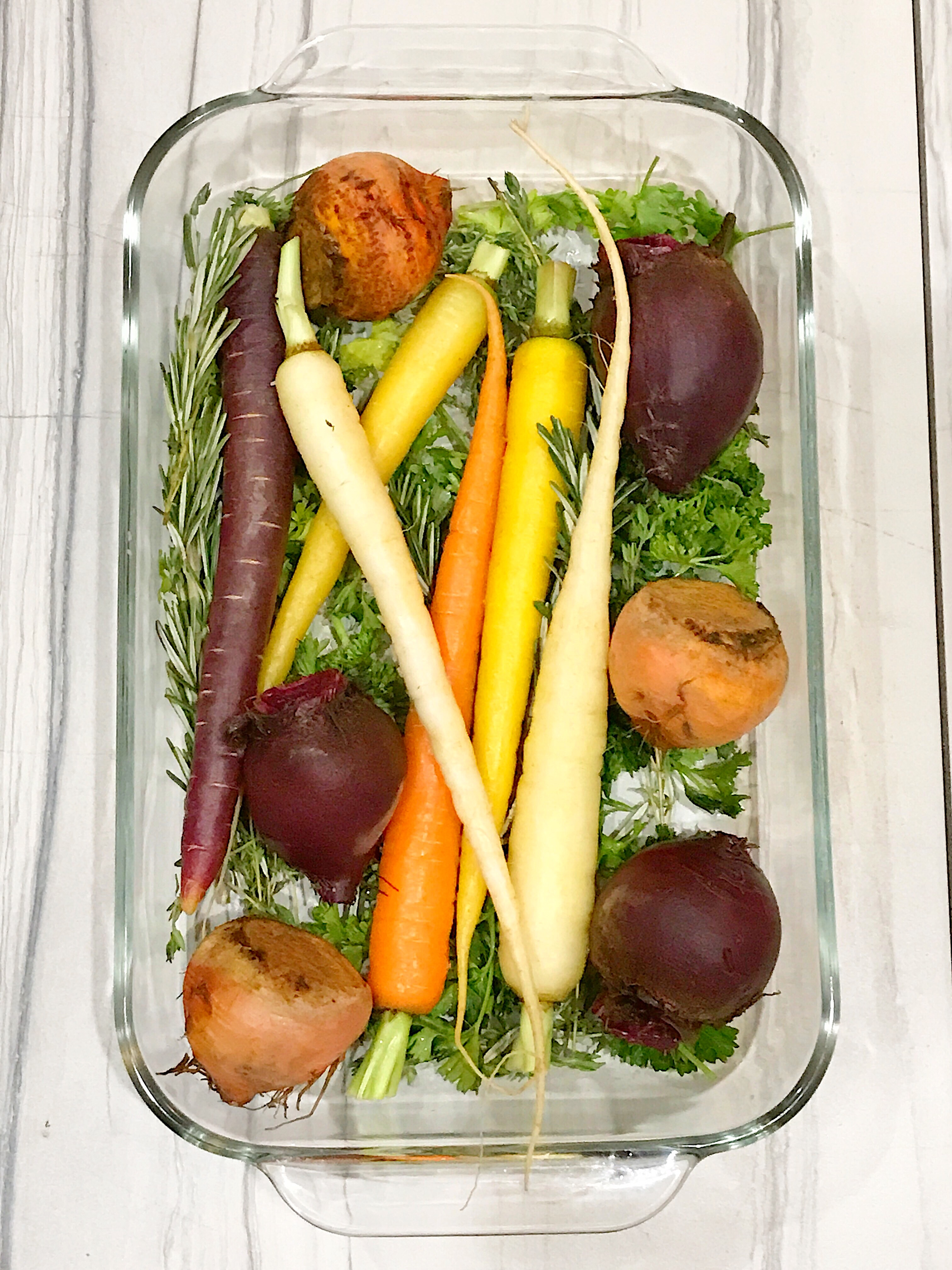 how to prepare root vegetables using herbs and roasting for the cooking method