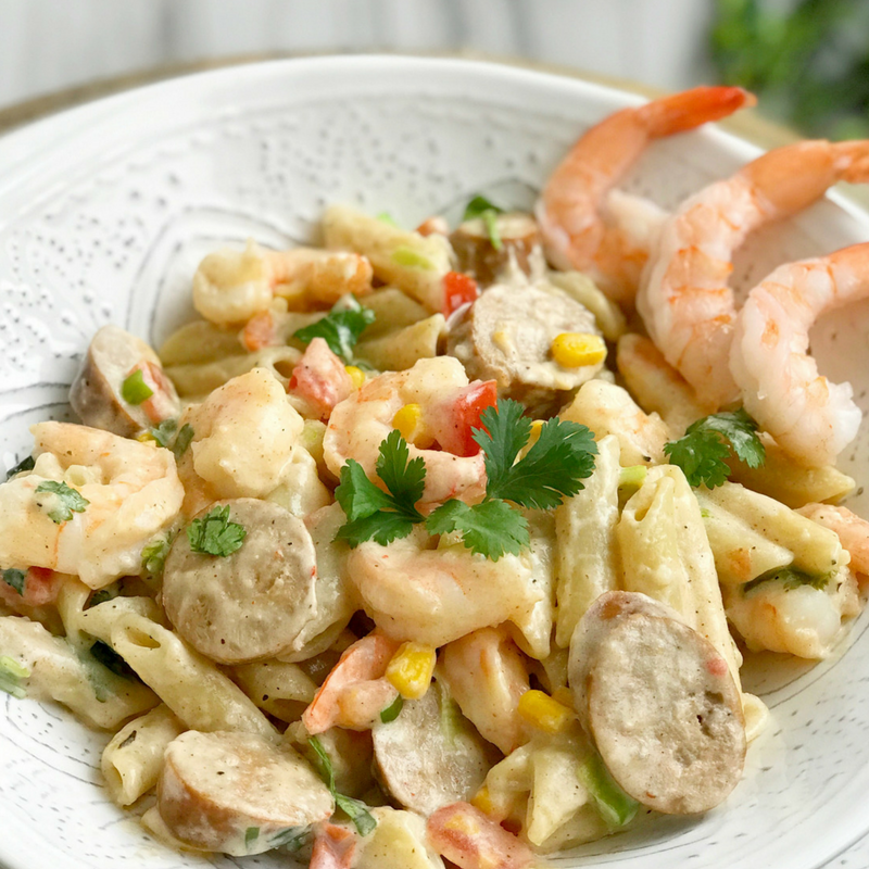 Creamy Cajun Pasta with Shrimp and Sausage recipe