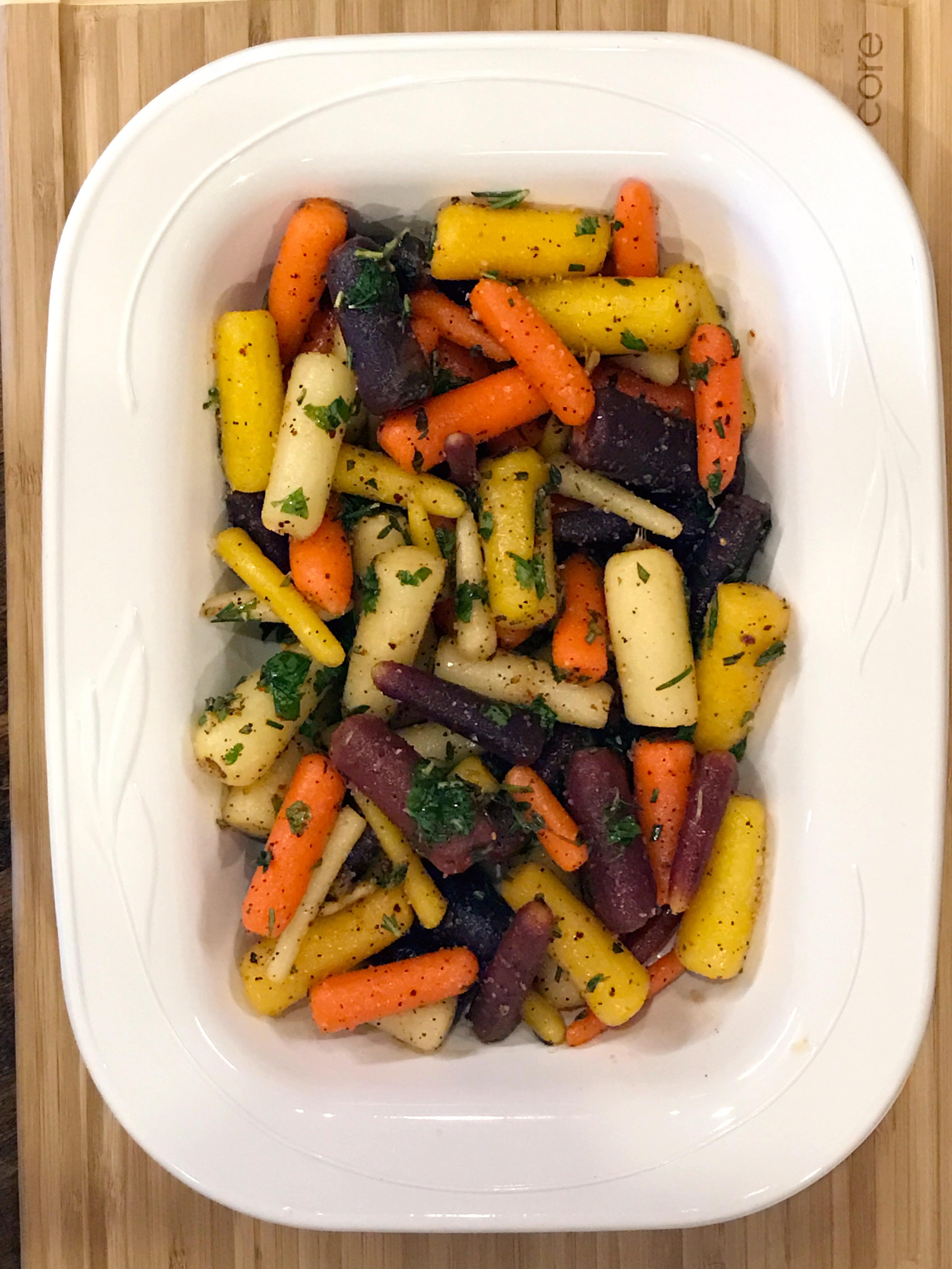 prepared roasted rainbow carrots