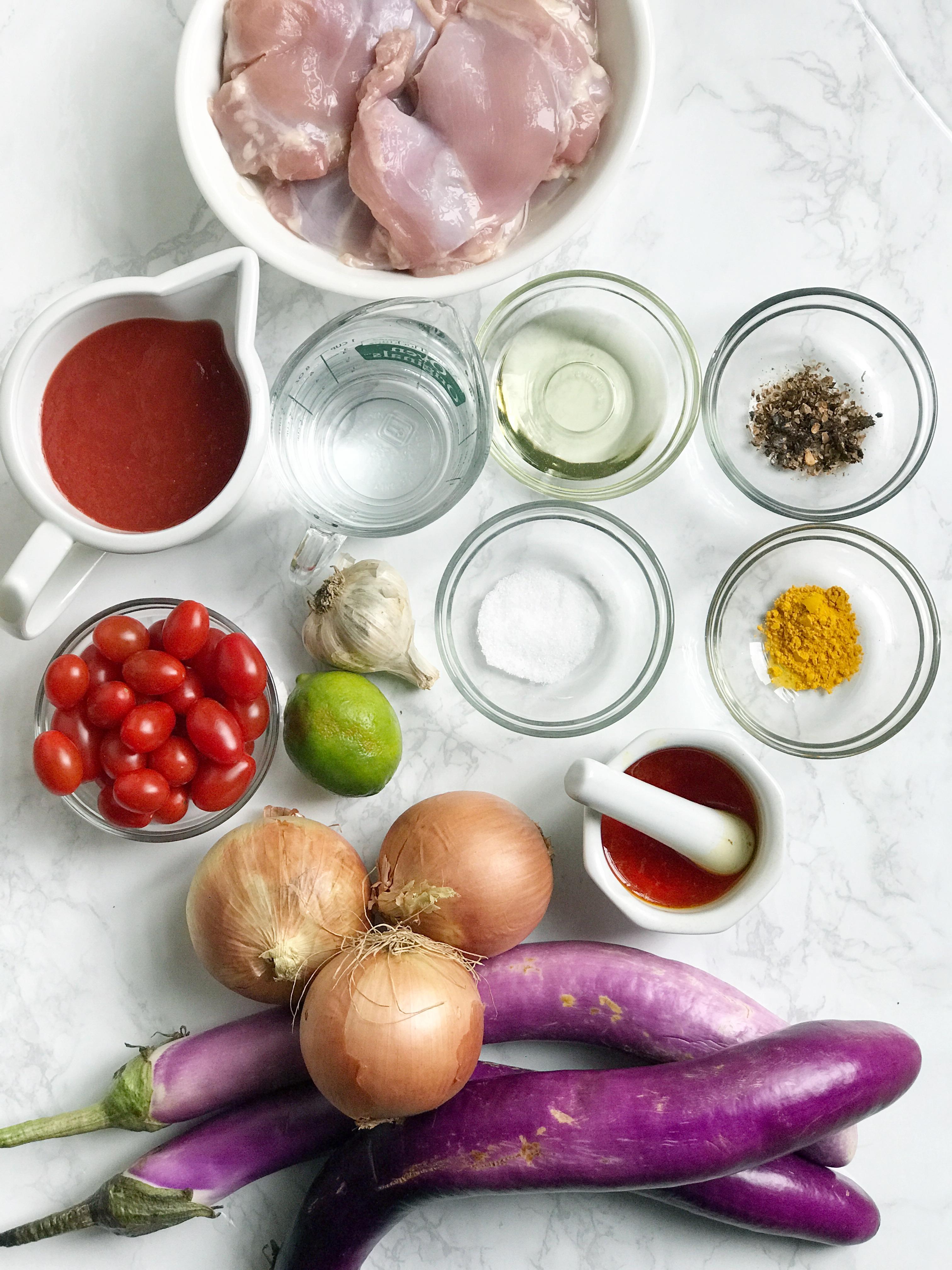 Persian Eggplant stew ingredients