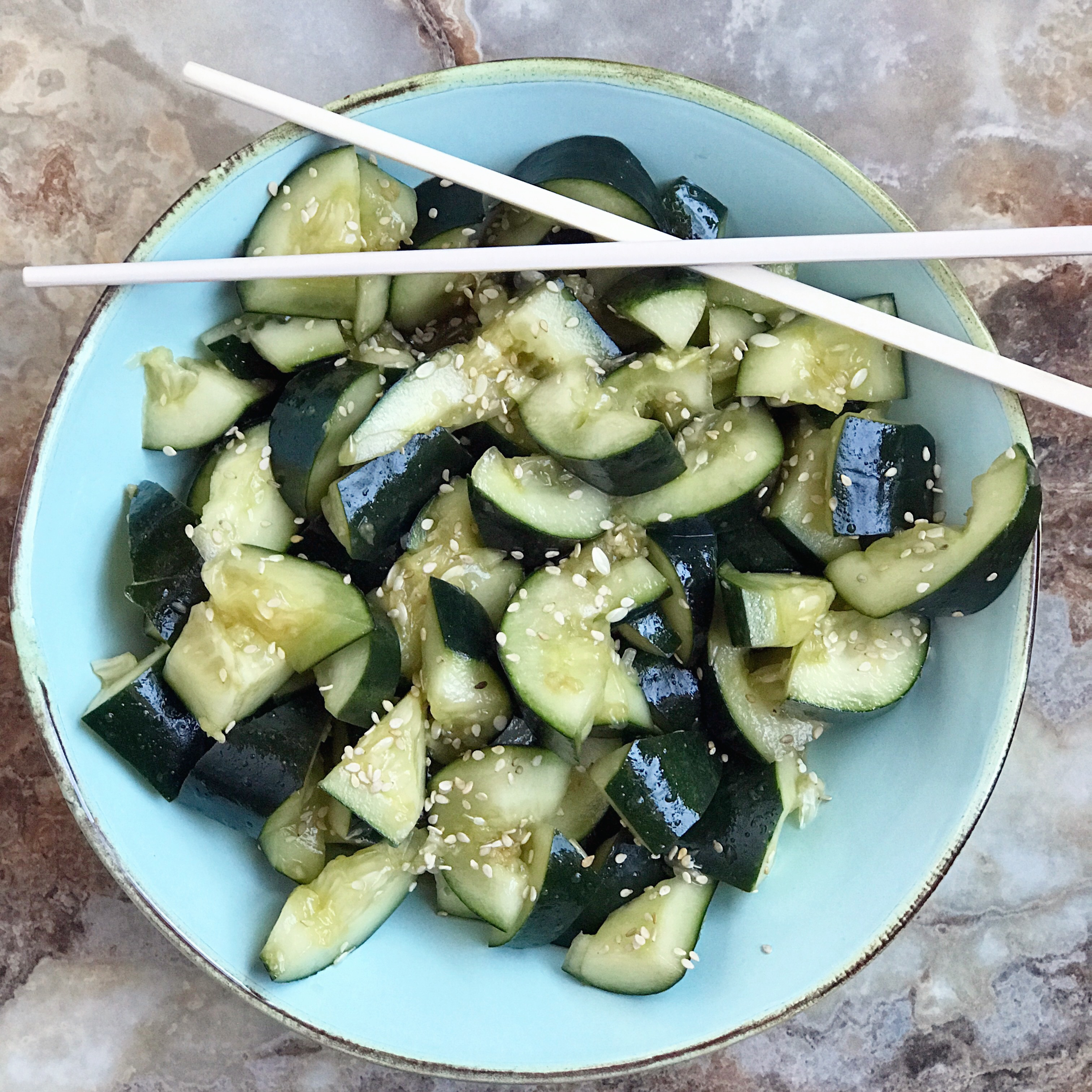 Easy Chinese cucumber salad made with smashed cucumbers and sesame