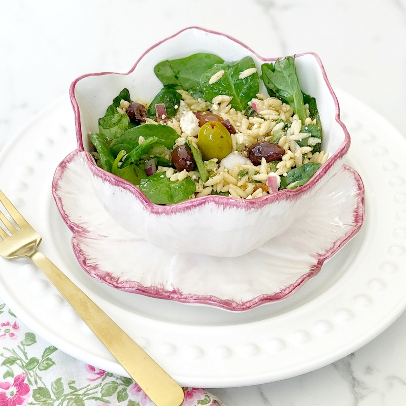 MEDITERRANEAN ORZO SPINACH SALAD RECIPE with feta cheese and olives
