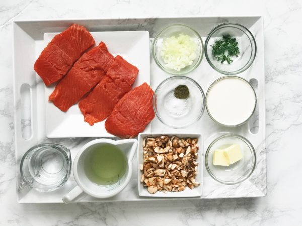 ingredients for japanese poached salmon