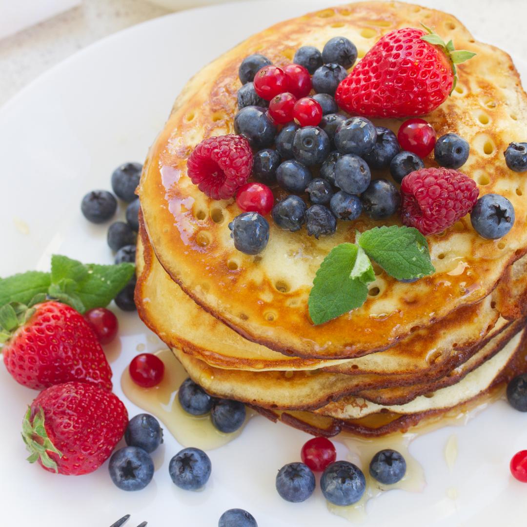 dairy free pancakes with raspberries